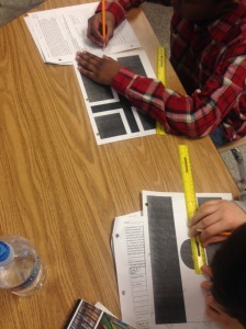Students measuring flag panels to scale in order to build flags for the exterior of the United Nations.